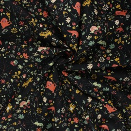 Poppy poplin cotton fabric - black Welcome to the jungle x 10cm
