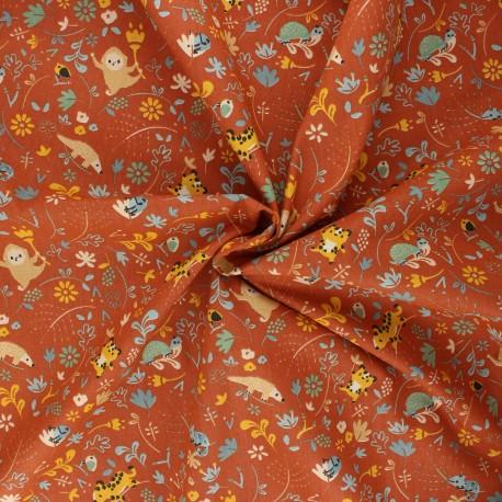 Poppy poplin cotton fabric - camel Welcome to the jungle x 10cm