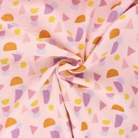 Tissu double gaze de coton Poppy Shapes - rose clair x 10cm