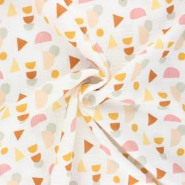 Tissu double gaze de coton Poppy Shapes - écru x 10cm