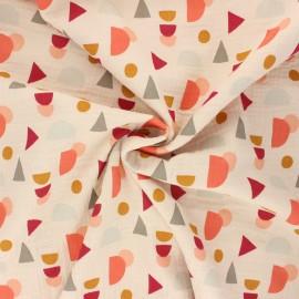 Tissu double gaze de coton Poppy Shapes - ivoire x 10cm