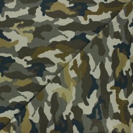 Tissu jersey Poppy Camouflage - kaki x 10cm