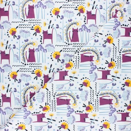 Tissu coton Cotton Steel Glory - Elsies cat - violet x 10cm