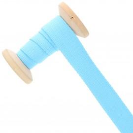 Sangle coton 23 mm - bleu azur - bobine de 15 m