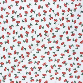 Stenzo jersey cotton fabric - white Cherry x 10cm