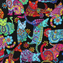 Timeless Treasures cotton fabric - black Psychecat x 10cm