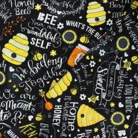 Tissu coton Timeless Treasures - Bee cool - noir x 10cm