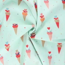Tissu popeline de coton Stenzo Icecream - menthe x 10cm