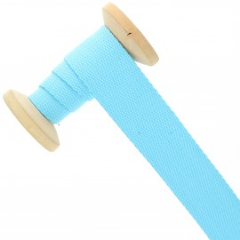 Sangle coton 30 mm - bleu azur - bobine de 15 m
