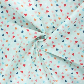 Stenzo poplin cotton fabric - mint Hearty x 10cm