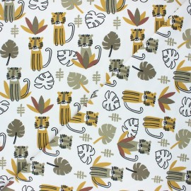Stenzo jersey cotton fabric - ochre Calm tiger x 10cm