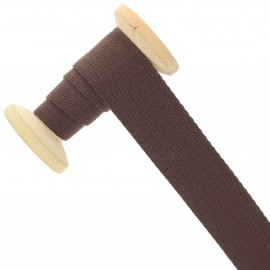 30 mm plain cotton Strap roll - chocolate