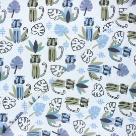 Stenzo jersey cotton fabric - blue Calm tiger x 10cm