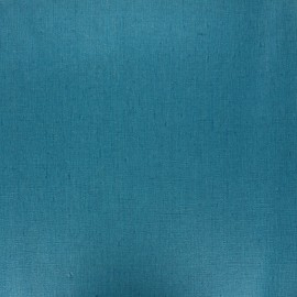Coated washed linen fabric - duck blue x 10cm