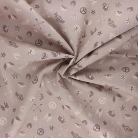 Tissu popeline de coton Army symbol - taupe x 10cm