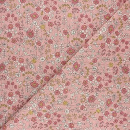 Tissu toile polycoton Lovely flowers - rose x 10cm