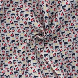 Tissu popeline de coton Pirate bear - sable x 10cm