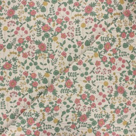 Tissu toile polycoton Lovely flowers - vert x 10cm