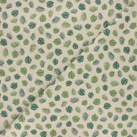 Tissu toile polycoton Mini monstera - vert x 10cm