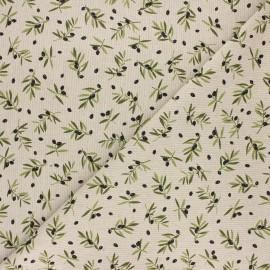 Tissu toile polycoton Olivier provençal - vert x 10cm