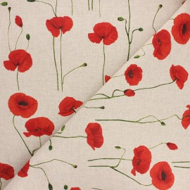 Tissu toile polycoton Poppy field - rouge x 10cm