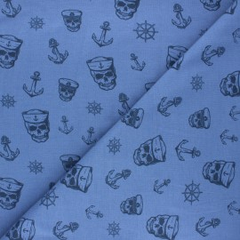 Printed Jersey fabric - blue Haunting pirate x 10cm