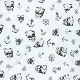 Printed Jersey fabric - white Haunting pirate x 10cm