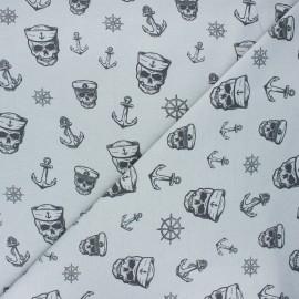 Printed Jersey fabric - light grey Haunting pirate x 10cm