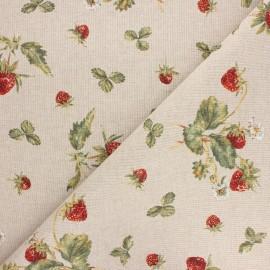 Tissu toile polycoton Fraisier - rouge x 10cm