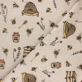 Tissu toile polycoton Apiculti - jaune x 10cm