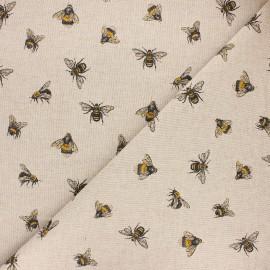 Tissu toile polycoton Buzzing bees - jaune x 10cm