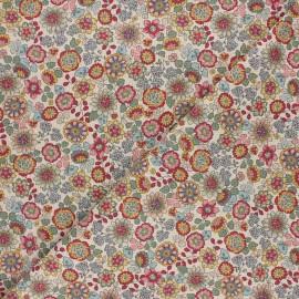 Tissu toile polycoton Summer wildflower - rose x 10cm