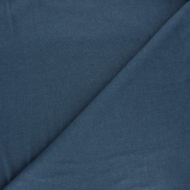 Flamed linen viscose jersey fabric - swell blue Roma x 10cm
