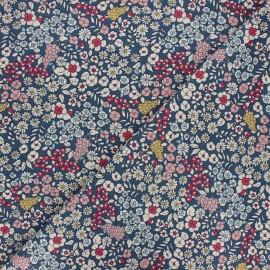 Tissu toile polycoton Blossom spring - bleu x 10cm