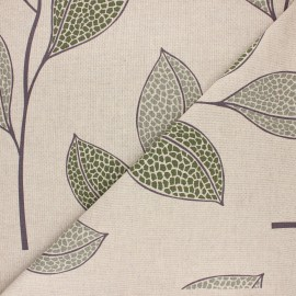 Tissu toile polycoton Giralea - vert x 10cm