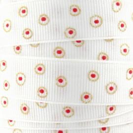 ♥ Coupon 210 cm ♥ Galon gros grain déco ronds blanc