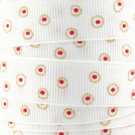 Grosgrain braid trimming, circle Decoration - white