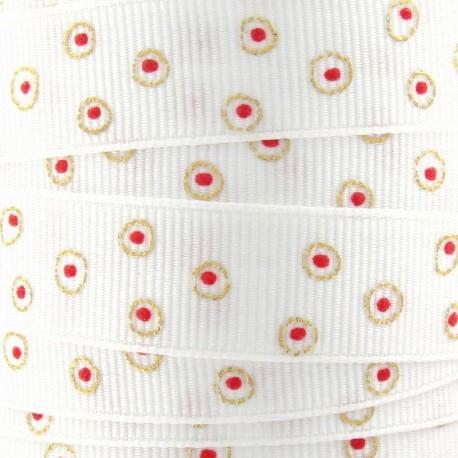 Grosgrain braid trimming, circle Decoration - white