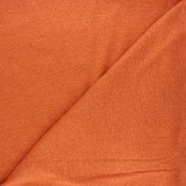 Flamed linen viscose jersey fabric - orange Roma x 10cm