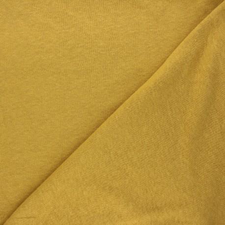 Flamed linen viscose jersey fabric - mustard yellow Roma x 10cm