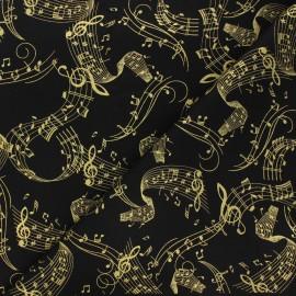Tissu coton Timeless Treasures - Gold music - noir x 10cm
