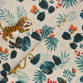 Tissu toile polycoton Jungle tiger - vert x 10cm