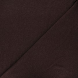 Flamed linen viscose jersey fabric - brown Roma x 10cm