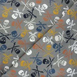 Printed sweatshirt fabric - grey À l'abordage ! x 10cm