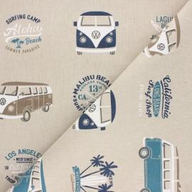 Tissu toile polycoton VW California paradise - bleu x 10cm