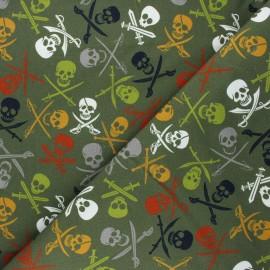 Printed sweatshirt fabric - khaki green À l'abordage ! x 10cm