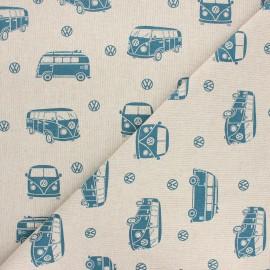 Tissu toile polycoton VW Surfing holidays - bleu x 10cm