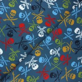 Printed sweatshirt fabric - blue À l'abordage ! x 10cm