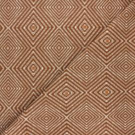Tissu toile polycoton Ethnic diamond - marron x 10cm