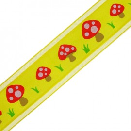 Ruban organza simple face champignons jaune